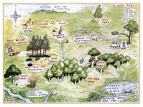 Map Of The 100 Aker Woods 100 Acre Woods Bold Or Vintage