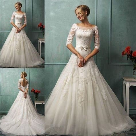 Boat Neck Wedding Dress Lace by New Boat Neck A Line 3 4 Sleeve Wedding Dress Lace