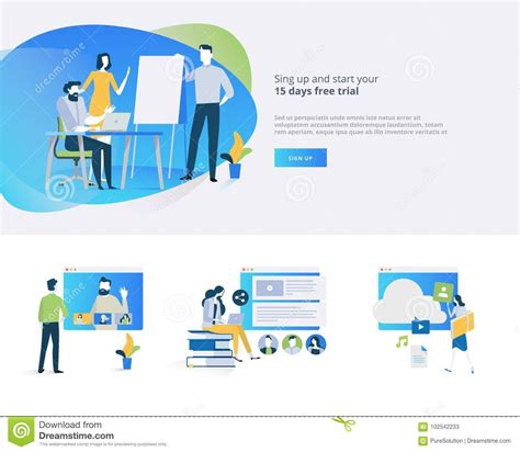 digital marketing distance learning flat design banner and elements of distance education