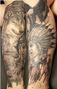native american leg by Jeff Raiano: TattooNOW