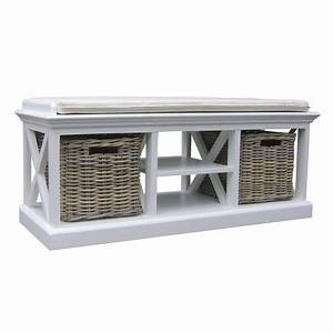 Petit Banc D Entrée : banc avec paniers en rotin torini meuble d 39 entr e ~ Teatrodelosmanantiales.com Idées de Décoration