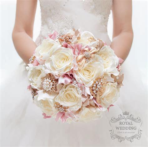 Silk Flower Brooch Bouquet Ivory Rose Gold Wedding Bouquet