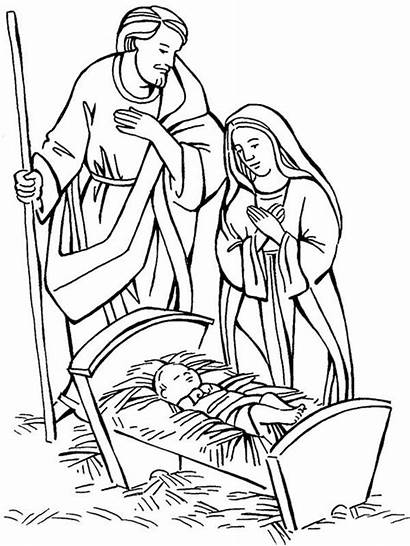 Nativity Scene Coloring Pages Jesus Christmas Mary