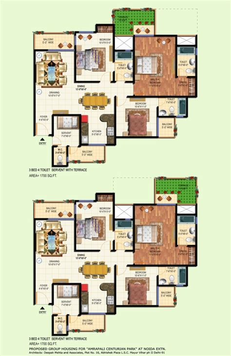 amrapali terrace floor plan 3bhk 4toilet 1700 sqft