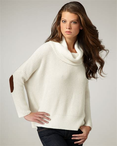white cowl neck sweater autumn patch cowl neck sweater in white lyst