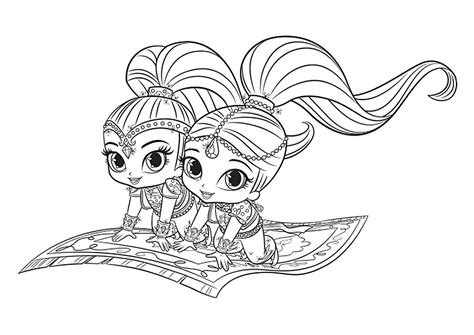 shimmer  shine coloring pages    print