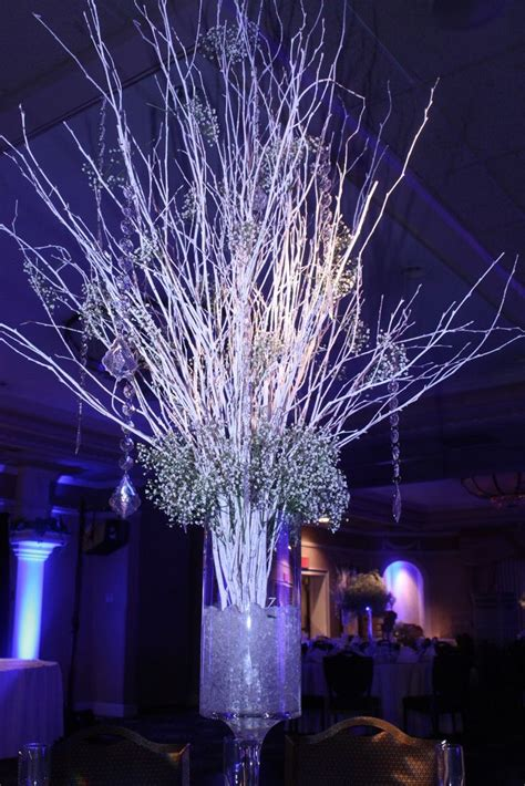 lighted tree centerpieces  weddings crushed ice