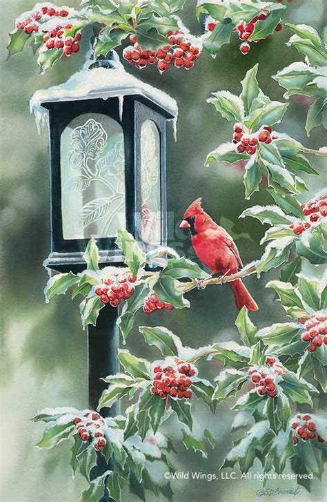 winter cardinal original watercolor painting wild wings