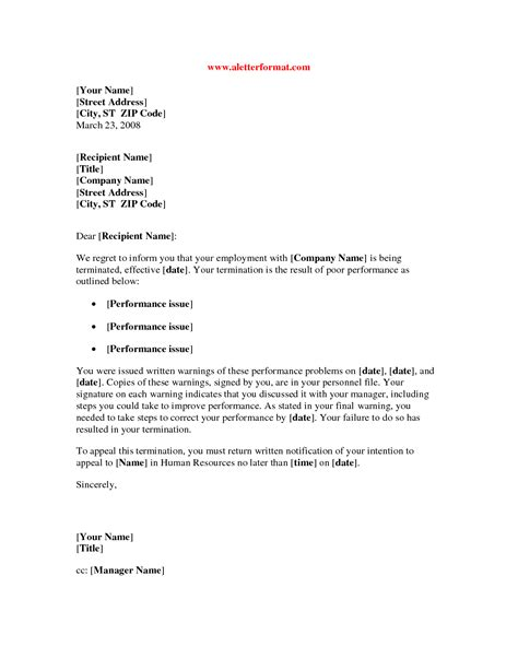 sample termination letter employee poor performance