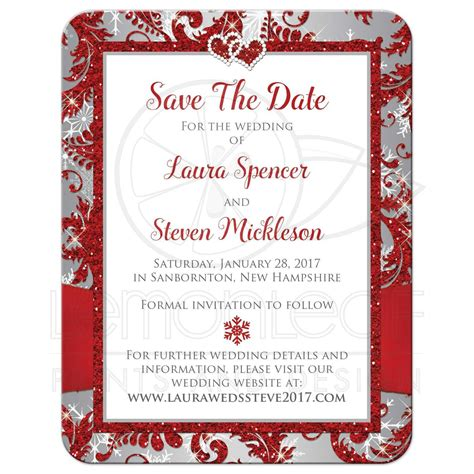 PHOTO Wedding Save the Date Card Red Silver Gray White