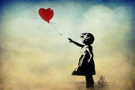 girl   balloon watercolor canvas print  banksy