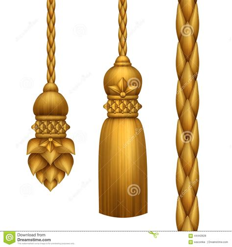 Classical Baroque Gold Tassels Clip Art, Isolated On White