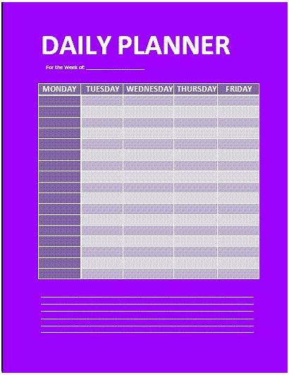 Planner Daily Template Agenda Word Templates Wordstemplates