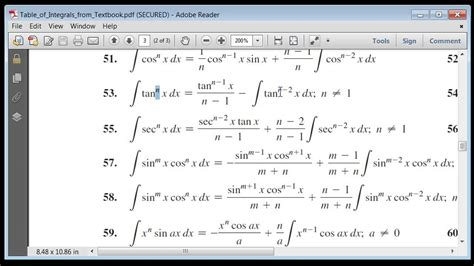 A selection of more complicated integrals. Other Integration Strategies - Table of integrals Ex. 2 ...