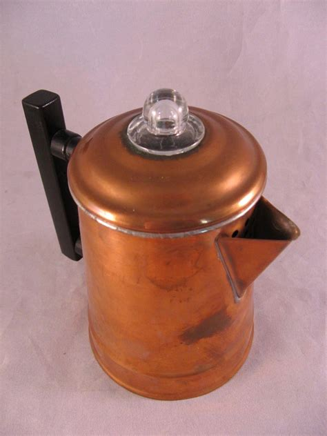vintage camping copper coffee pot small  cups stovetop percolator   hills collector