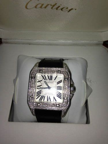diamond cartier santos  xl fully loaded box papers