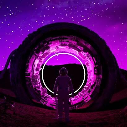 Neon Astronaut Ring Glow Dark Background Pro