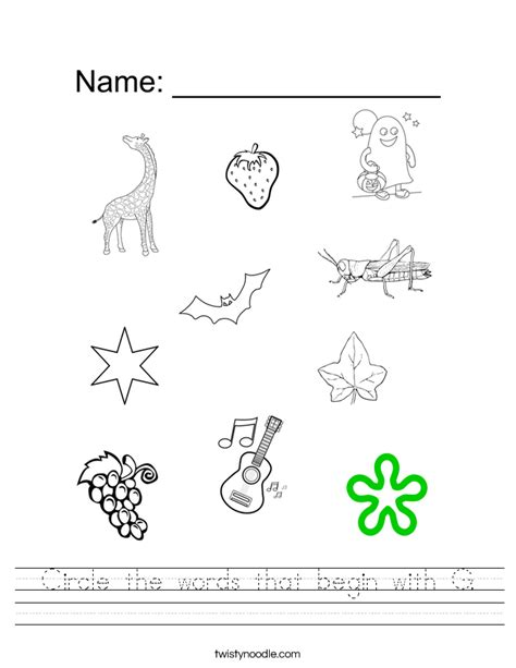 circle the words that begin with g worksheet twisty noodle