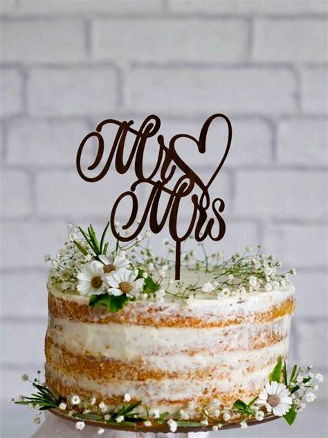 Mr Mrs Wedding Cake Topper Wooden Cake Topper Custom Mr