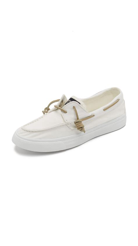 White Sperry Boat Shoes by Lyst Sperry Top Sider Bahama Washed Boat Shoes In White