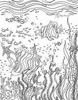 Underwater Coloring Scene Drawing Megan Duncanson Mural Canvas Colorable Drawn Pre Muralsyourway Abstract sketch template