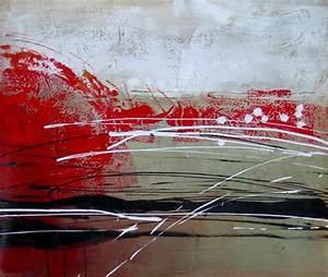 Tableau Peinture Sur Toile : tableau abstrait rouge noir blanc kaki peinture abstraite ~ Teatrodelosmanantiales.com Idées de Décoration