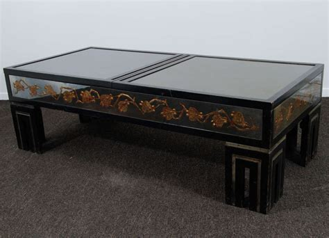 coffee table with hidden storage james mont eglomise mirrored coffee table w hidden