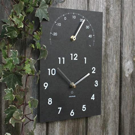outdoor wall clock and thermometer eco recycled wall clock and thermometer by ashortwalk 7248