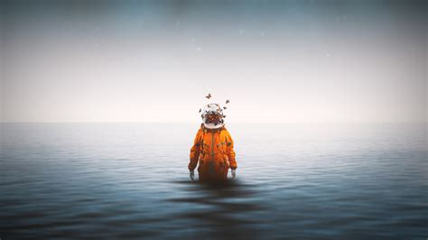 wallpaper lonely astronaut