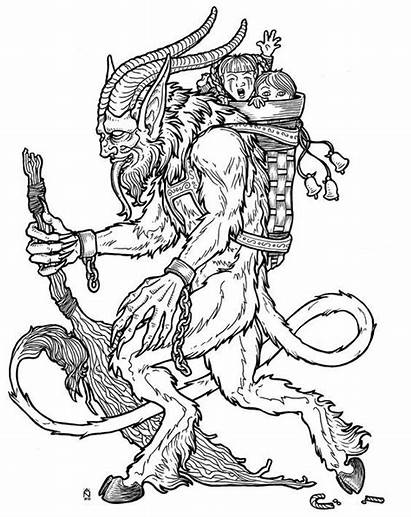 Krampus Coloring Pages Christmas Monster Traditions Evil