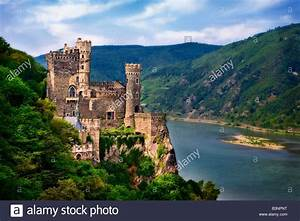 Rheinstein medieval castle, on the Rhine river in Germany ...