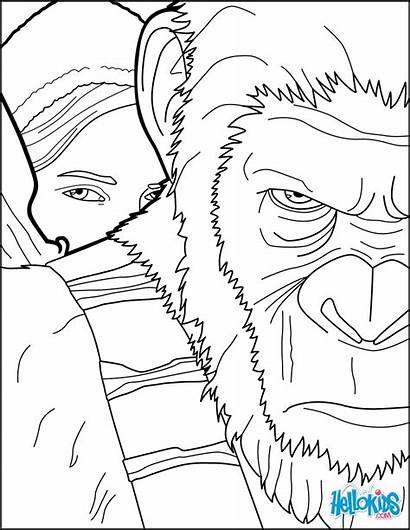 Apes Coloring War Pages Planet Hellokids Coloriage