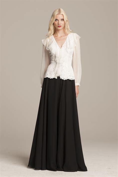 evening blouse white chiffon and lace ruffled blouse teri jon