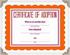 adoption certificate template certificate templates With blank adoption certificate template