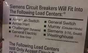 Siemens Breaker Compatibility Chart