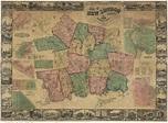 Map of New London County CT 1854 Wallmap Reprint