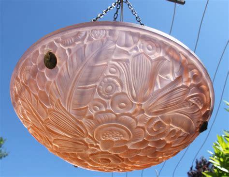 lustre verre saumon d 233 co d 233 cor fleurs plafonnier 233 es