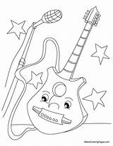 Guitar Coloring Pages Electric Colouring Printable Bass Popular Getcoloringpages Coloringhome Boy sketch template