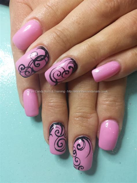 dev guy gel  pink gel polish  freehand nail art