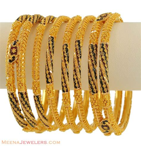 designer meenakari bangles set 22k bast7116 22k gold meenakari bangles set of 6 are