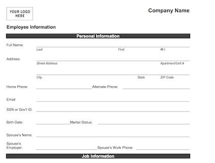 employee information form pdf employee information form or print word pdf