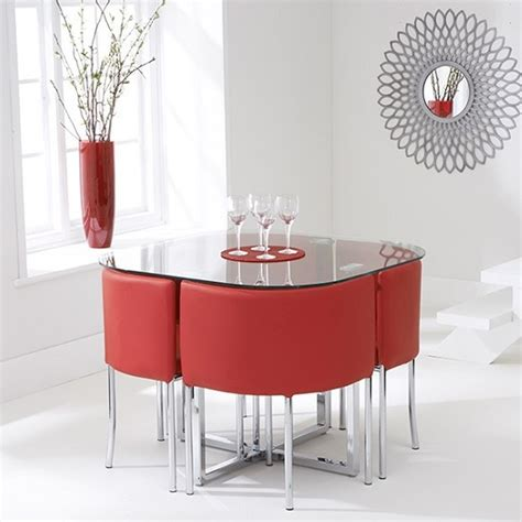 mingo glass stowaway dining set  clear   red chairs
