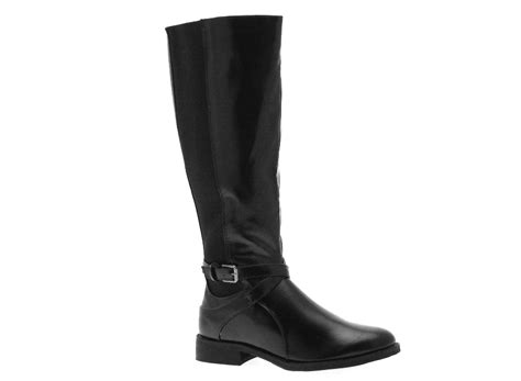 womens stretch wide calf flat riding boots knee high black