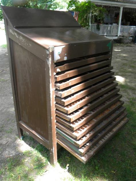 Printers Type Cabinet by Vintage Antique 1920s Wooden Printers Type Cabinet Letterpress