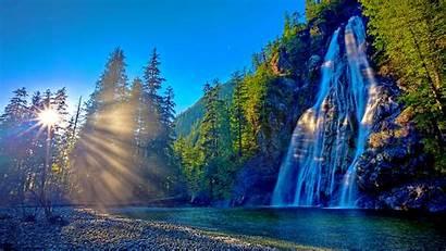 Waterfall Sun Mountain Sunshine Waterfalls Wallpapers Desktop