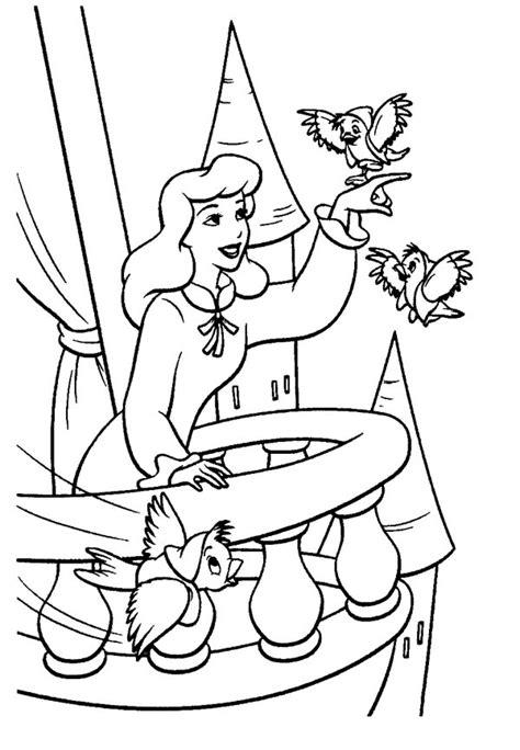 cinderella    birds  cinderella coloring