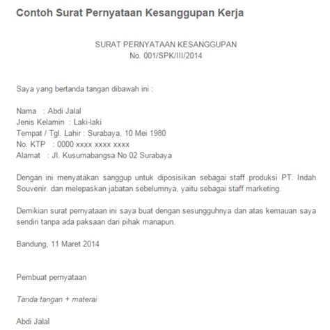 Contoh Surat Pernyataan Kerja by 16 Contoh Surat Pernyataan Penyesalan Kerja Bebas