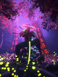 Neon, Samurai, On, Behance, In, 2020