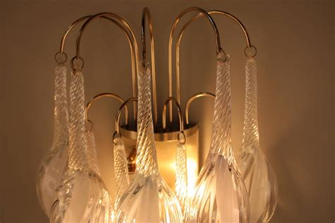 Pair Of Italian Large Tear Drop Blown Glass Wall Sconces
