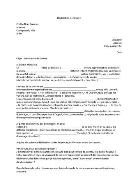 modele lettre declaration sinistre secheresse lettre de d 233 claration d un sinistre lelynx fr